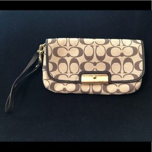 Coach brown and tan cloth wristlet